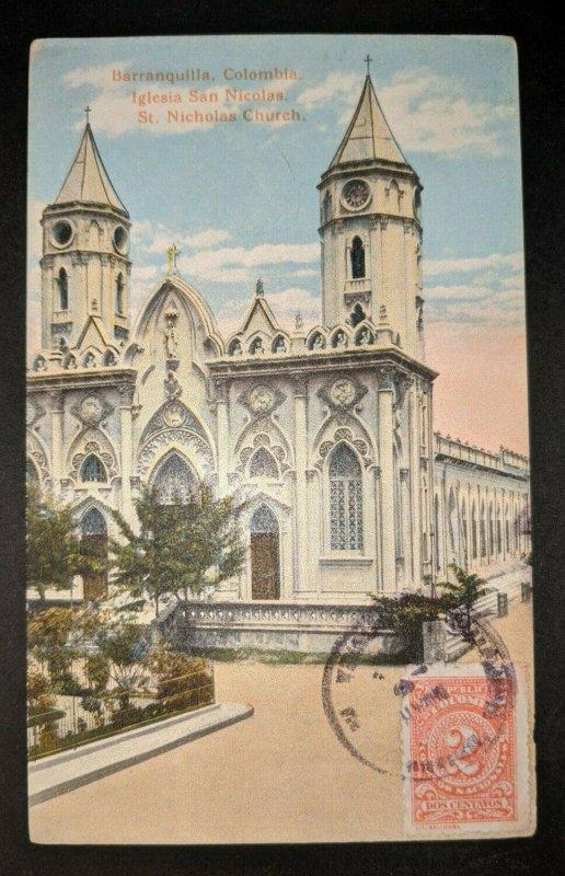 Vintage San Nicolas Church Barranquilla Columbia Real Picture Postcard Cover