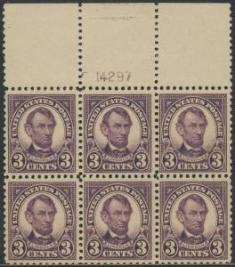#555 TOP PLATE NO. BLOCK OF 6 VF OG NH CV $425 BT615