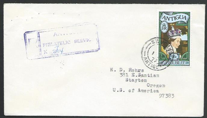 ANTIGUA 1977 Registered cover to USA.......................................56641
