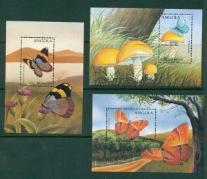Angola - Sc# 1020-2. 1998 Butterflies. Set of 3 Souvenir Sheets. MNH $16.00.