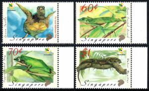 Singapore 909-912,MNH.Amphibians,Reptiles.Turtle,Lizard,Frog,Water monitor,1999