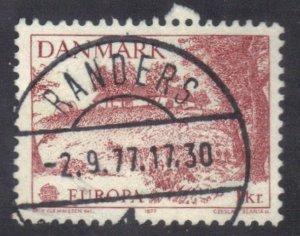 DENMARK SC# 600 USED 1k 1977 EUROPA   SEE SCAN