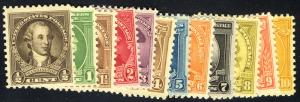 US #704 - 715 COMPLETE SET, VF mint never hinged,  a lovely complete set, Sup...