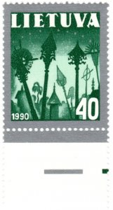 Lithuania Scott 390-92 (1991: Religious Symbols)