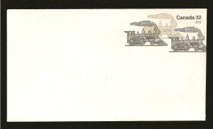 Canada U114 Trains 32 Cent Sepia #8 Envelope MNH