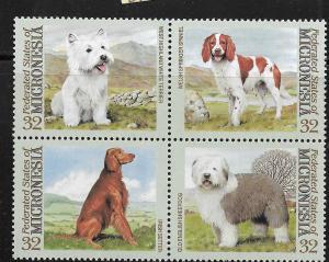MICRONESIA, 211, MNH, BLOCK OF 4, DOGS