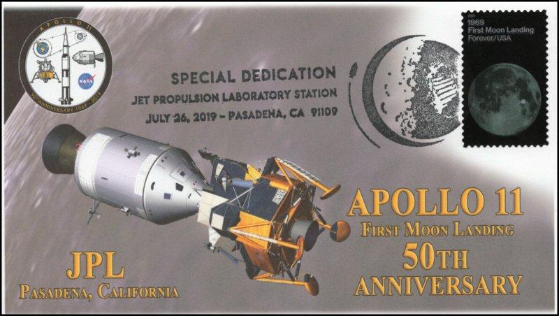 19-114, 2019, Apollo 11 Moon Landing, Pictorial Postmark, JPL Dedication, Event