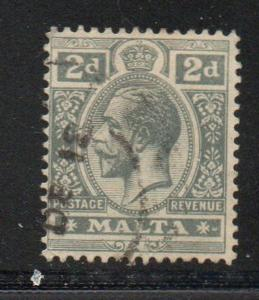 Malta Sc 52 1915 2d gray G V stamp used