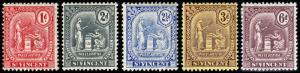 St. Vincent Scott 99-103 (1909-11) Mint H VF, Cat. Value $36.00