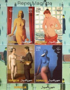 Somalia 2004 RENE MAGRITTE Nudes Paintings Sheetlet (4) Perforated MNH