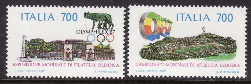 Italy #1715-16 F-VF Mint NH ** OLYMPILEX '87