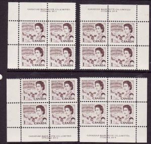 Canada-Sc#454-Unused NH 1c QEII Centennial-4 corner plate blocks #4-Dex gum-1967