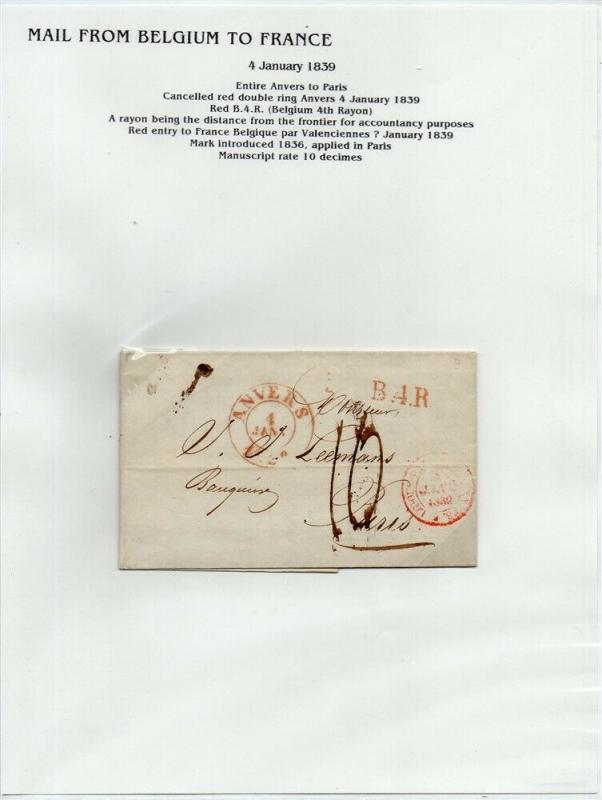 FRANCE Early Incoming LETTER/COVER 1839 fine used item Anvers - Paris