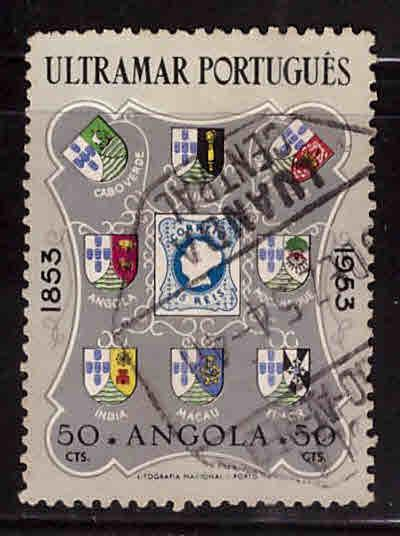 Angola  Scott 382 Used stamp on stamp 1953 Portugal stamp centennial