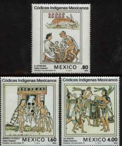 MEXICO 1290-1292, Aztec Codex Illustrations. MINT, NH. F-VF.