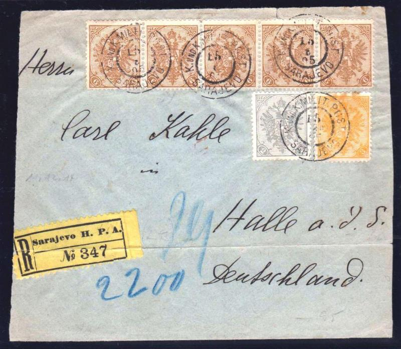 AUSTRIA BOSNIA  1905. FRONT SIDE of  ENVELOPE MULTICOLOR