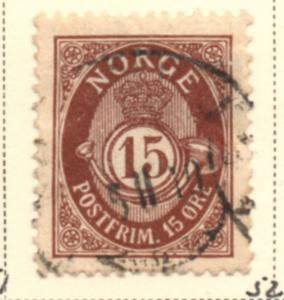 Norway Sc 52 1908 15 ore brown Post Horn stamp used