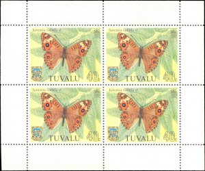 Tuvalu #146-149, Complete Set(4), Blocks of 4, 1981, Butterflies, Never Hinged