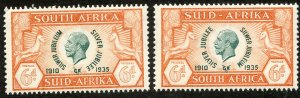 South Africa, Scott #71a & 71b, Unused, Hinged