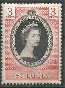 ST. LUCIA,1953, MH, 3c, Coronation Scott 156