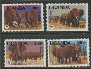 Uganda - Scott 948 -51 - Wild Life Elephant Set -1991 - MNH - Set of 4 Stamp