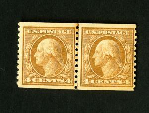 US Stamps # 495 VF Line Pair OG NH Catalog Value $160.00