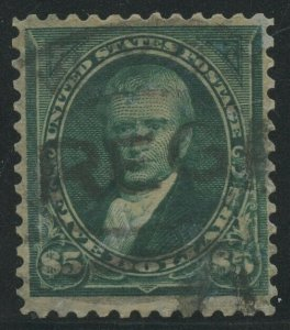 #278 $5 1895 F/VF USED WITH REGISTRY CANCLE CV $675 AU1090