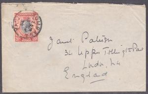 KENYA UGANDA TANGANYIKA 1938 GV 20c on cover ex Mombasa to UK................708