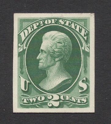 #O58P4 Green - State Dept. Official - Plate Proof on Card