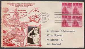 USA 1943 CROSBY photo FDC to New Zealand - United Nations for Victory......55356