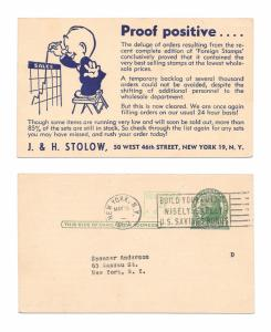 UX39 Illustrated Philatelic Advertising Postal Card J H Stolow Stamps New York