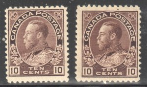 Canada VF NH #116- 116a (#116a has a wrinkle) C$3000.00
