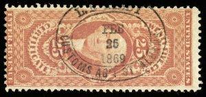 B636 U.S. Revenue Scott #R44c 25c Certificate 1869 custom house handstamp cancel