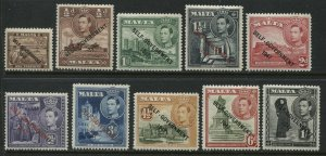 Malta KGVI 1947 1/4d to 1/ overprinted Self Government unmounted mint NH