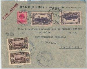 56379 -  LEBANON Liban -  POSTAL HISTORY  -  AIRMAIL COVER to ITALY  1939