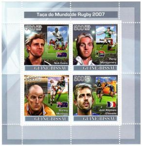 Guinea-Bissau 2007 Rugby World Cup Shlt(4) Perf.MNH VF