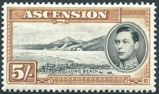 ASCENSION-1938-53 5/-  Black & Yellow-Brown Perf 13½  Sg 46