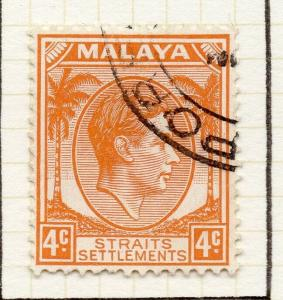 Malaya Straights Settlements 1937-41 Early Issue Fine Used 4c. 308054