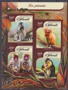 2016 Djibouti 914-917KL Monkey 12,00 €