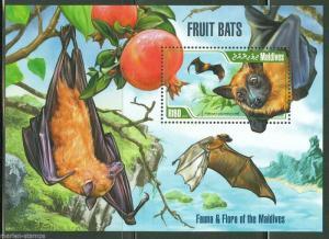 MALDIVES  2013 FRUIT BATS  SOUVENIR SHEET MINT NEVER HINGED