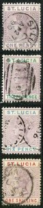 St Lucia SG39/42 1886 Set of 4 wmk Crown CA used