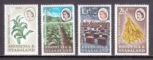 Rhodesia and Nyasaland - Scott #184-187 - MH - Toning #186 - SCV $3.45