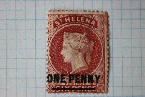 St. Helena sc#29 used thin fault EFO watermark? W M GV margin paper printer