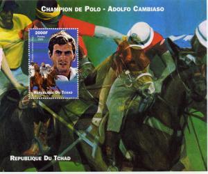 Chad 2002 POLO Champion Adolfo Cambiaso (Argentina) Horses S/S Perforated MNH
