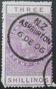 New Zealand 1906 Three Shillings p14 SG F79 used