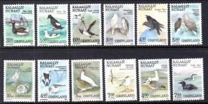 Greenland 177-188 Birds MNH VF