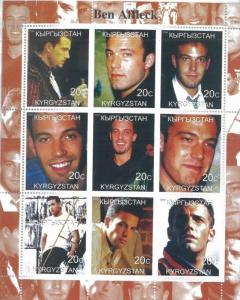 BEN AFFLECK Mini Sheet of 9 MNH Kyrgyzstan - E11