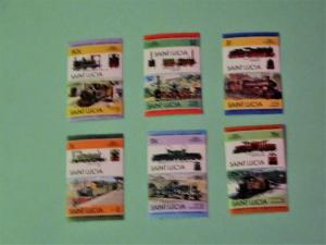 St. Lucia - 674-79, MNH Set (Pairs). Locomotives. SCV - $2.20