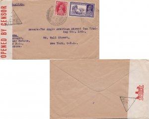 India 1a KGVI and 2a6p KGVI Dak Bullock Cart 1940 Munnar-Travancore to New Yo...