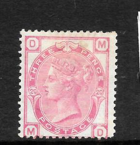 GREAT BRITAIN  1873-80  3d   PALE ROSE    QV   PLATE 20  MLH   SG 144